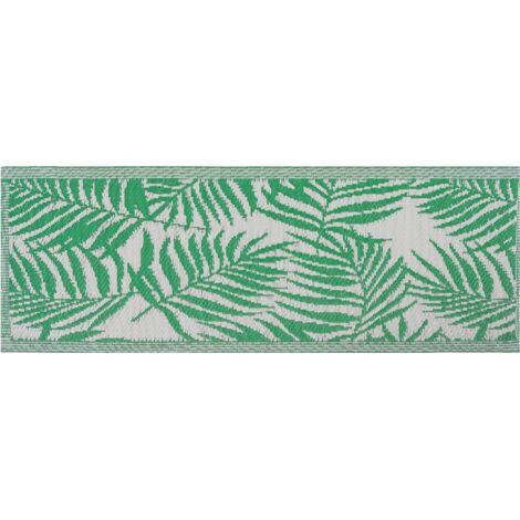 Tapis d'extérieur au style tropical vert et blanc 60 x 105 cm