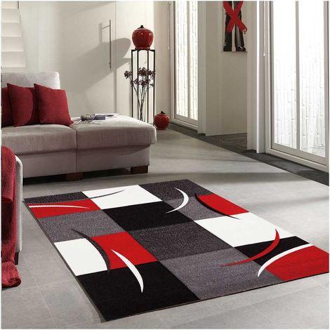UN AMOUR DE TAPIS - DIAMOND COMMA - 40x60 cm - petit tapis Moderne Design - Tapis entrée et tapis chambre - tapis Rouge, gris, noir, créme - Couleurs et Tailles Disponibles