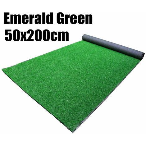 Tapis d'intérieur / extérieur synthétique réaliste de gazon artificiel dense de 15 mm (vert émeraude (50cmx200cmx15mm))