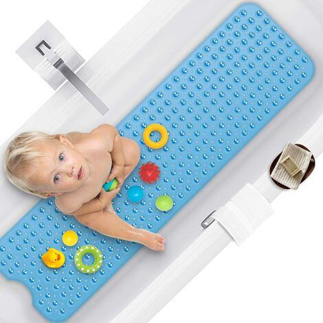 Tapis douche 100 x 40 cm, baignoire antidérapante avec ventouse, sans odeur chimique ni tapis de salle de bain en PVC de sécurité, extra long, lavable en machine (bleu)