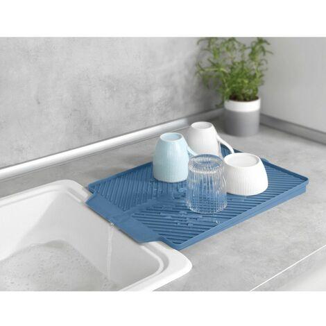 Tapis égouttoir - 40 x 3 x 30 cm - Linea - Bleu