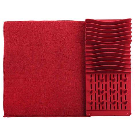 Tapis égouttoir à vaisselle en polypropylène Rouge