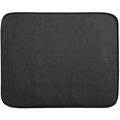 Tapis égouttoir à vaisselle polyester gris 45 x 40cm - IDesign - Interdesign - Noir