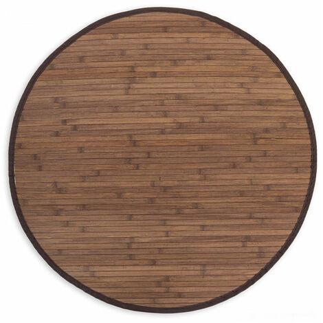Tapis en bambou rond brun foncé Ø 200cm - noir