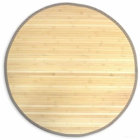 Tapis en bambou rond naturel Ø 120cm - noir
