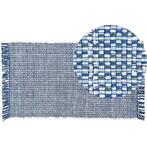 Tapis en coton bleu marine