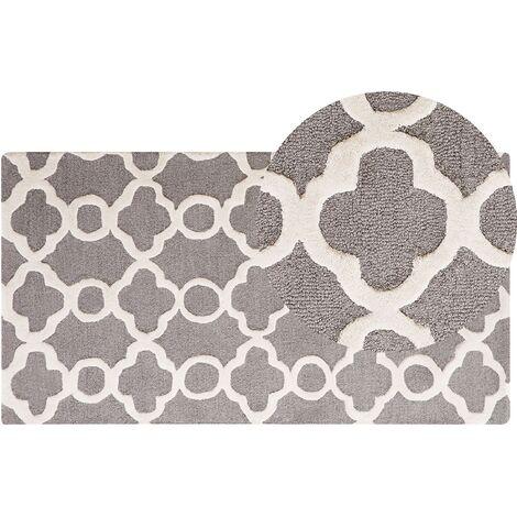 Tapis en coton et laine gris 80 x 150 cm ZILE