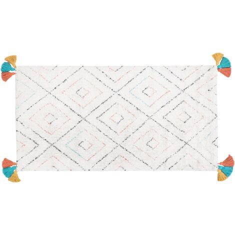 Tapis en coton style boho avec franges colorés