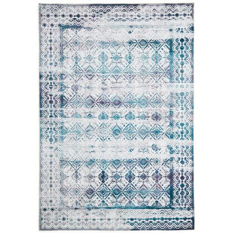 Tapis en coton vintage rectangle rayé Vicence Bleu clair 160x230