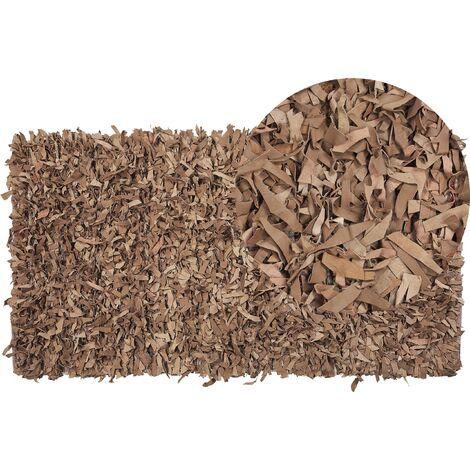 Tapis en cuir beige 80 x 150 cm MUT