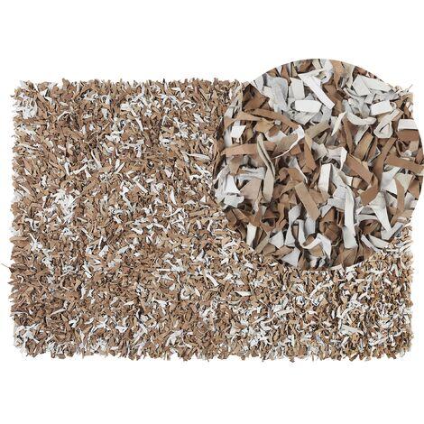 Tapis en cuir beige clair 140 x 200 cm MUT