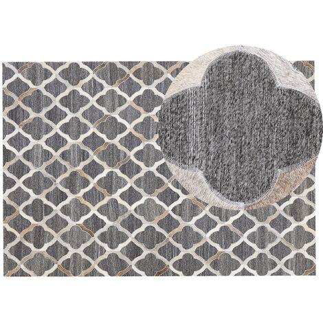 Tapis en cuir et tissu gris et beige 140 x 200 cm ROLUNAY