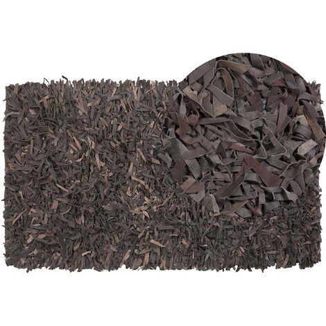 Tapis en cuir marron 80 x 150 cm MUT
