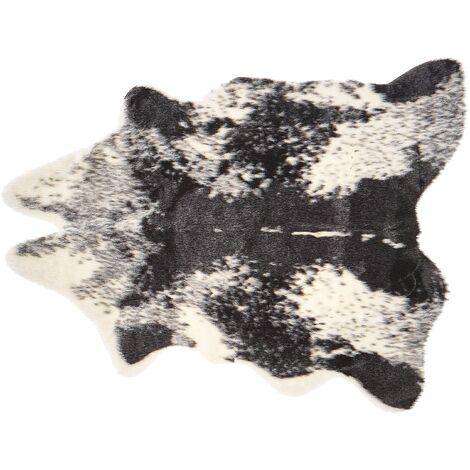 Tapis en fausse fourrure de vache noire et blanche, 60 x 90 cm NAMBUNG