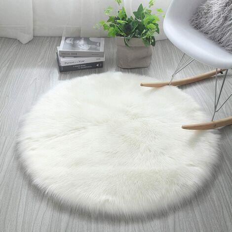 Tapis en fausse fourrure, imitation Polaire moelleuse Zone Tapis antidérapant Tapis de yoga pour le salon Chambre à coucher Canapé Tapis de sol (Rond blanc, 60 x 60 cm)