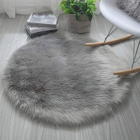 Tapis en fausse fourrure, imitation Polaire moelleuse Zone Tapis antidérapant Tapis de yoga pour le salon Chambre à coucher Canapé Tapis de sol (Rond gris, 60x 60 cm)
