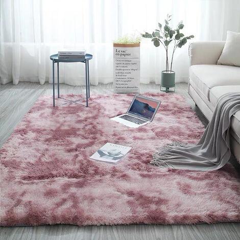 Tapis en fausse fourrure Tapis de chambre à coucher Tapis doux (rose pourpre, 160x200cm)