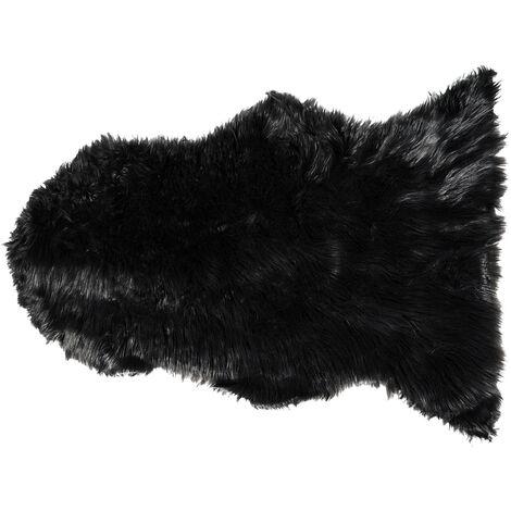 Tapis en fourrure artificielle noire au style rustique