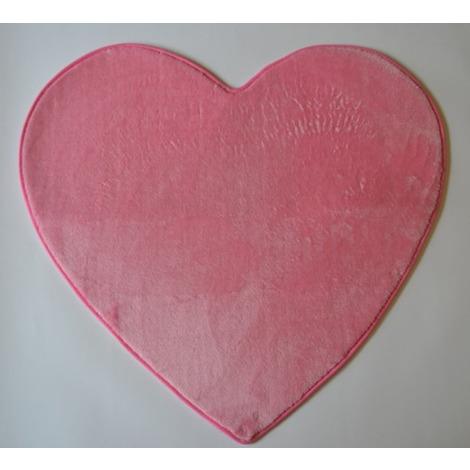 Tapis en Microfibre coeur rose - Dim : L.80 x l.74 cm