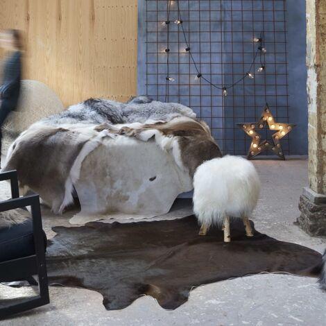 Tapis en peau de vache véritable 150 x 170 cm Marron