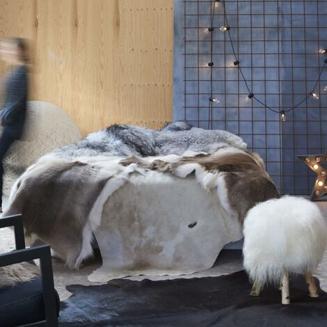 Tapis en peau de vache véritable Marron et blanc 150 x 170 cm