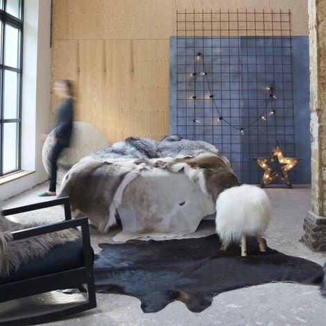Tapis en peau de vache véritable Noir 150 x 170 cm