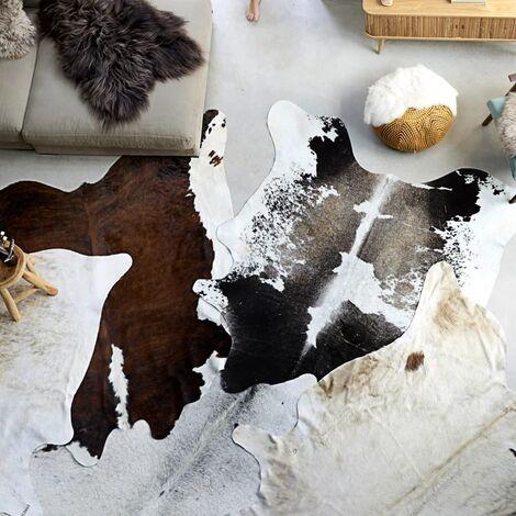 Tapis en peau de vache véritable Noir et blanc 150 x 170 cm