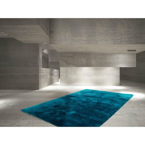 Tapis en polyester moelleux Calypso Bleu pétrole 120x170 - Bleu pétrole