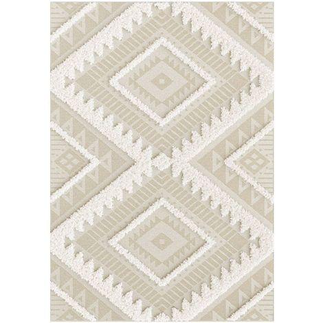 Tapis en relief géométrique - Salvador - Losanges écru et beige naturel - 200 x 290 cm