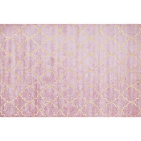 Tapis en soie artificielle rose avec motif treillis doré