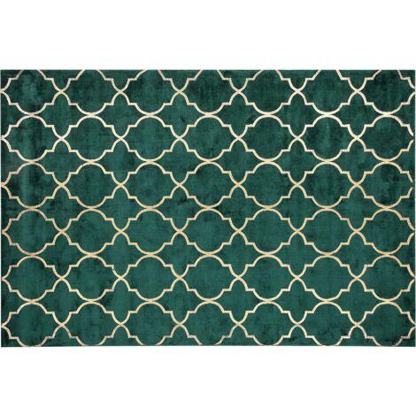 Tapis en soie artificielle vert foncé avec motif treillis doré