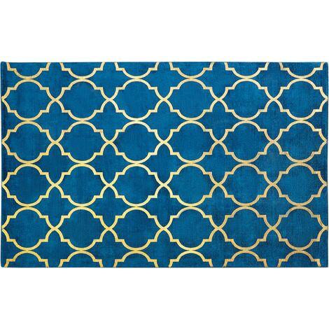 Tapis en viscose bleu marine au motif marocain doré 140 x 200 cm YELKI