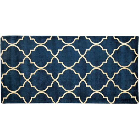 Tapis en viscose bleu marine au motif marocain doré 80 x 150 cm YELKI