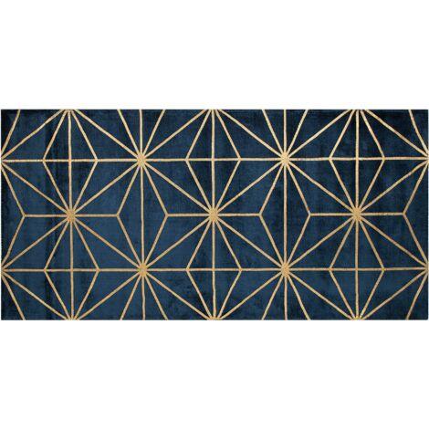 Tapis en viscose bleu marine et dorée avec motif abstrait 80 x 150 cm SIBEL