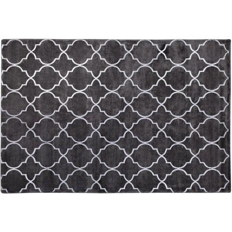 Tapis en viscose gris foncé au motif marocain argenté 140 x 200 cm YELKI