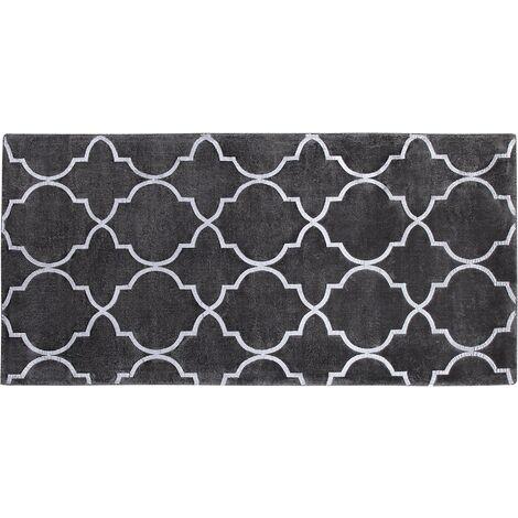 Tapis en viscose gris foncé au motif marocain argenté 80 x 150 cm YELKI