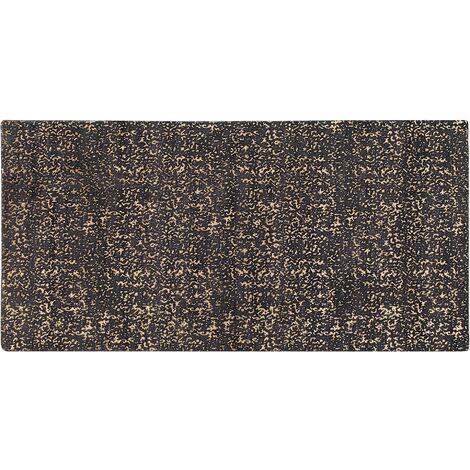 Tapis en viscose gris foncé et dorée au motif taches 80 x 150 cm ESEL