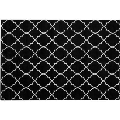 Tapis en viscose noire au motif marocain argenté 140 x 200 cm YELKI