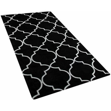 Tapis en viscose noire au motif marocain argenté 80 x 150 cm YELKI