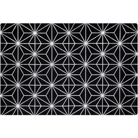 Tapis en viscose noire et argentée avec motif abstrait 140 x 200 cm SIBEL