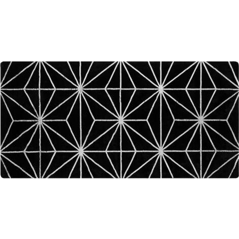 Tapis en viscose noire et argentée avec motif abstrait 80 x 150 cm SIBEL