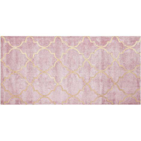 Tapis en viscose rose au motif marocain doré 80 x 150 cm YELKI