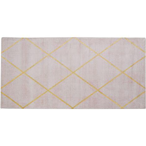 Tapis en viscose rose et dorée 80 x 150 cm ATIKE