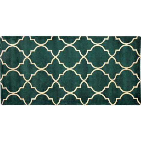 Tapis en viscose vert foncé au motif marocain doré 80 x 150 cm YELKI