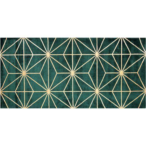 Tapis en viscose vert foncé et dorée avec motif abstrait 80 x 150 cm SIBEL