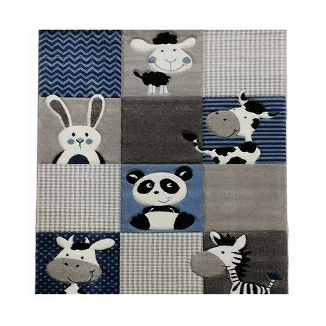 Tapis enfant 200x200 carre cm Carré ZOO Bleu Chambre adapté au chauffage par le sol