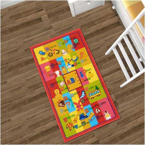 Tapis enfant 57x100 cm Rectangulaire SPHINX ABC Multicolore Chambre adapté au chauffage par le sol