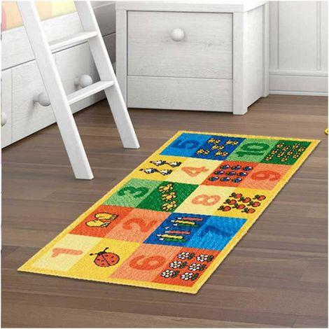 Tapis enfant 57x100 cm Rectangulaire SPHINX NUMERI Multicolore Chambre adapté au chauffage par le sol