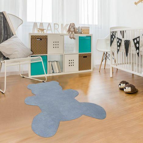 Tapis enfant 80x100 cm Forme originale OURS COTON Bleu Chambre Tufté main Coton