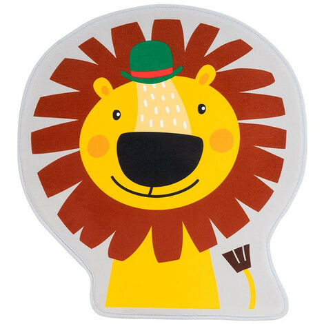 Tapis enfant antidérapant multicolore lavable en machine Lion Multicolore 60x65